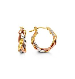 10K Tri Color Yellow, White and Rose Gold Hoop Earrings