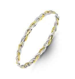 10K Two Tone Yellow and White Gold Weave Bangle