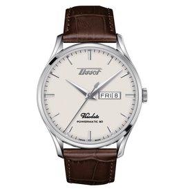 Tissot Heritage Visodate Powermatic 80 Men's Silver Tone Brown Leather Strap Watch