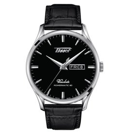 Tissot Tissot Heritage Visodate Powermatic 80 Men's Silver Tone Black Dial Black Leather Strap Watch