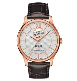 Tissot Tissot Tradition Powermatic 80 Open Heart Men's Rose Tone Brown Leather Strap Watch