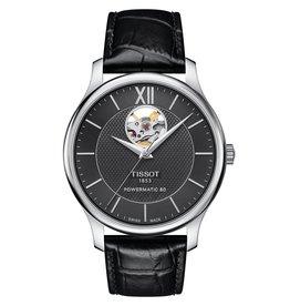 Tissot Tissot Tradition Powermatic 80 Open Heart Men's Silver Tone Black Dial Black Leather Strap Watch