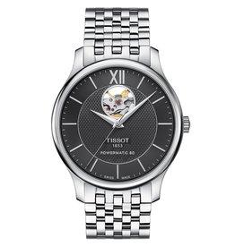 Tissot Tissot Tradition Powermatic 80 Open Heart Men's Silver Tone Black Dial Watch