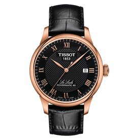 Tissot Tissot Le Locle Powermatic 80 Men's Rose Tone Black Dial Black Leather Strap Watch