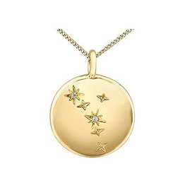 10K Yellow Gold (0.006ct) Diamond Cancer Zodiac Pendant
