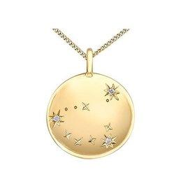 10K Yellow Gold Diamond Capricorn Zodiac Pendant