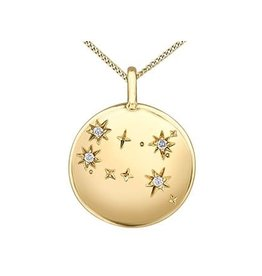 10K Yellow Gold (0.02ct) Diamond Gemini Zodiac Pendant