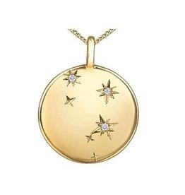 10K Yellow Gold (0.009ct) Diamond Libra Zodiac Pendant