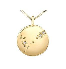 10K Yellow Gold Diamond Pisces Zodiac Pendant