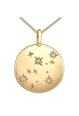 10K Yellow Gold Diamond Virgo Zodiac Pendant