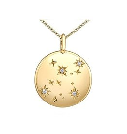 10K Yellow Gold (0.01ct) Diamond Virgo Zodiac Pendant