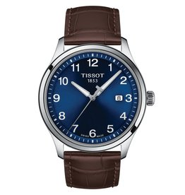 Tissot Tissot Gent XL Classic Men's  Silver Tone Blue Dial Brown Leather Strap Watch