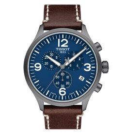 Tissot Tissot Chrono XL Men's Gray Tone Blue Dial Brown Leather Strap Watch