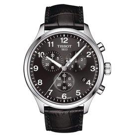 Tissot Tissot Chrono XL Classic Men's Silver Tone Black Dial Black Leather Strap Watch