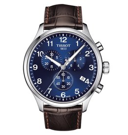 Tissot Tissot Chrono XL Classic Men's Silver Tone Blue Dial Brown Leather Strap Watch