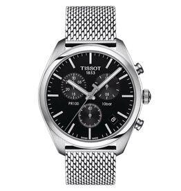Tissot Tissot PR 100 Chronograph Men's Silver Tone Black Dial Mesh Strap Watch