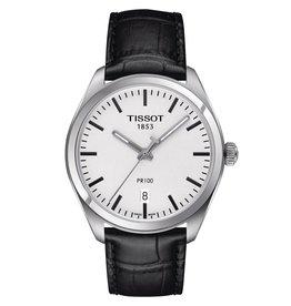 Tissot Tissot PR 100 Men's Silver Tone Black Leather Strap Watch