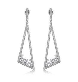 Reign Reign Sterling Silver CZ Geometric Dangle Earrings