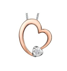 10K Rose and White Gold Dimond Heart Pendant