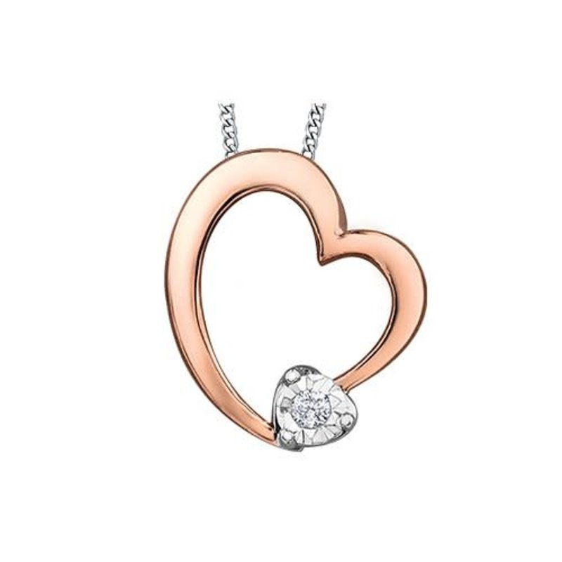 10K Rose and White Gold Dimond Heart Pendant