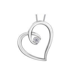 10K Yellow White Gold Dimond Heart Pendant