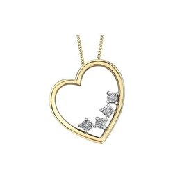10K Yellow and White Gold Dimond Heart Pendant