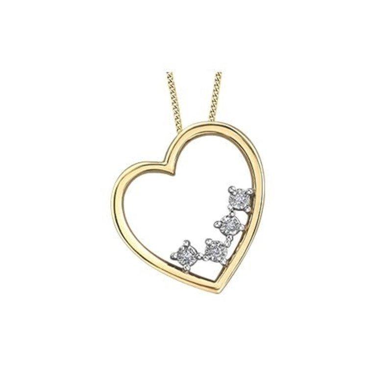 10K Yellow and White Gold Dimond Heart Pendant