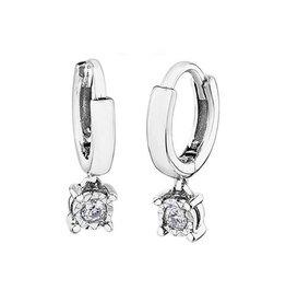 10K White Gold (0.06ct) Diamond Dangle Hoop Earrings