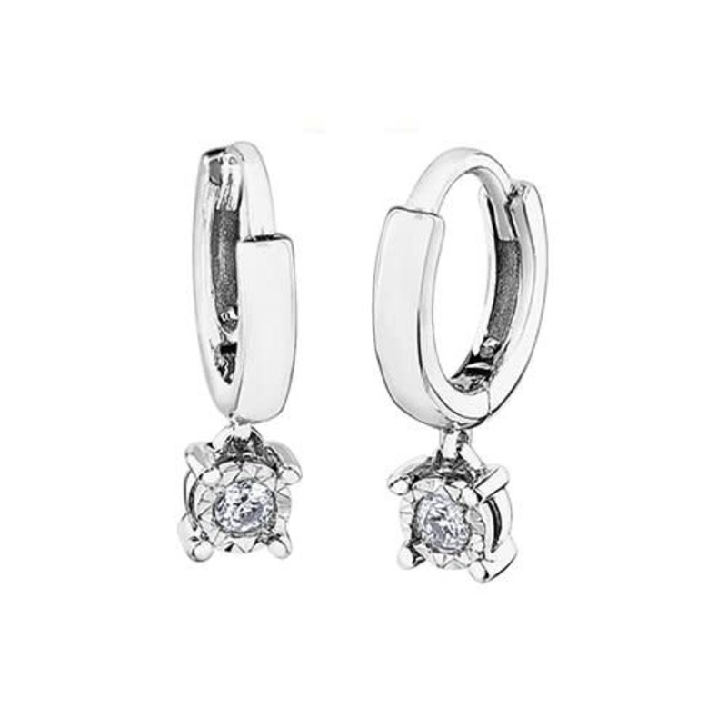 10K White Gold (0.06ct) Diamond Dangle Hoop Earrings