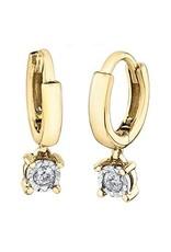 10K Yellow Gold (0.06ct) Diamond Dangle Hoop Earrings