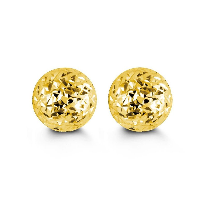 10K Yellow Gold (5mm - 10mm) Diamond Cut Ball Stud Earrings
