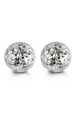 10K White Gold (5mm - 10mm) Diamond Cut Ball Stud Earrings