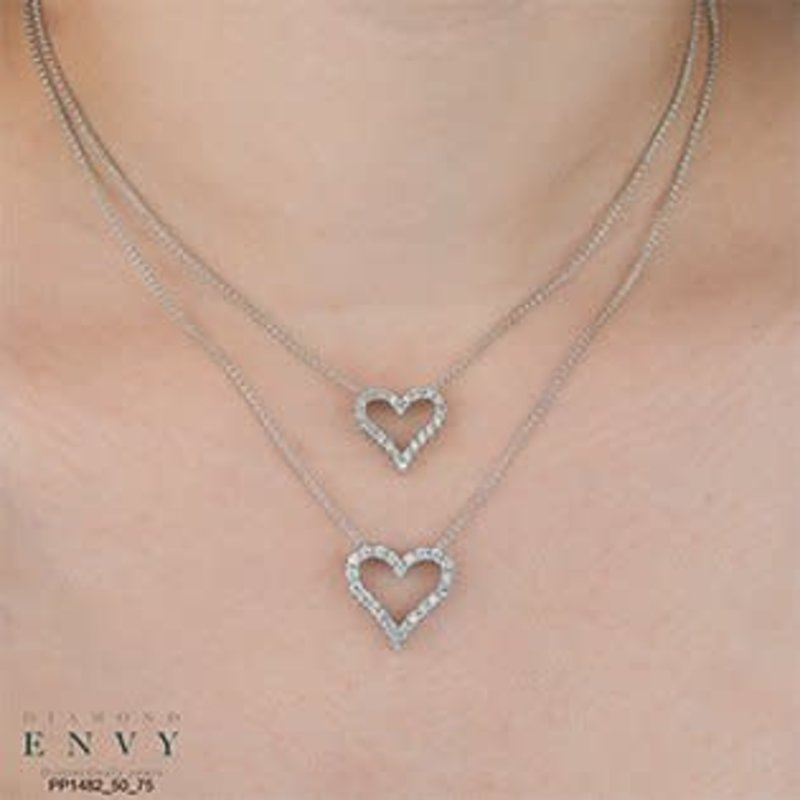 10K White Gold (0.50ct - 0.075ct) Diamond Heart Pendant