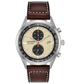 Citizen Citizen Brycen Men's Eco Drive Silver Tone Brown Leather Strap Watch
