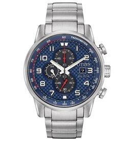 Citizen Citizen Primo Men's Eco Drive Silver Tone Blue Dial Watch