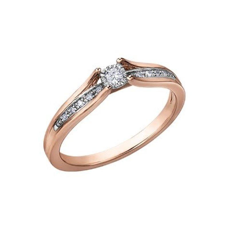 10K Rose Gold (0.10ct) Diamond Illusion Setting Ring