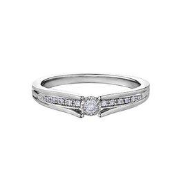10K White Gold (0.10ct) Diamond Illusion Set Ring