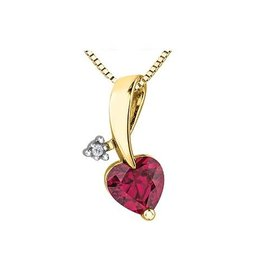 10K Yellow Gold Created Ruby and Diamond Pendant