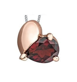 10K Rose and White Gold Garnet Heart Pendant