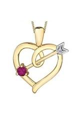 10K Yellow Gold Ruby and Diamond Pendant