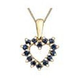10K Yellow Gold Sapphire Heart Pendant
