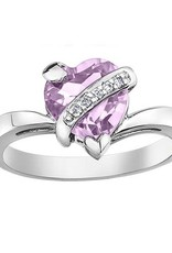 10K White Lilac Amethyst and Diamond Heart Ring