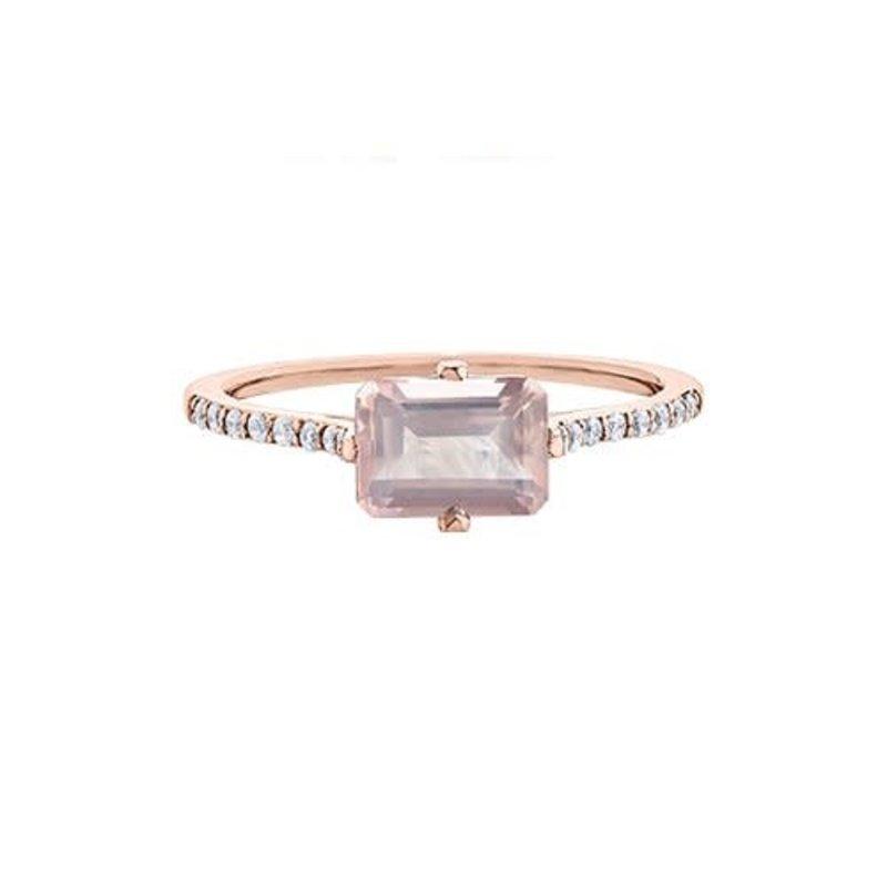 10K  Rose Gold Rose Quartz and Diamond Ring