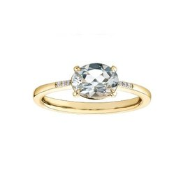 10K Yellow Gold White Topaz and Diamond Ring