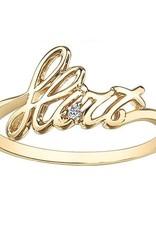 10K Yellow Gold Diamond Flirt Script Ring