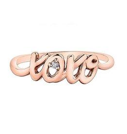 10K Rose Gold Diamond XOXO Script Ring