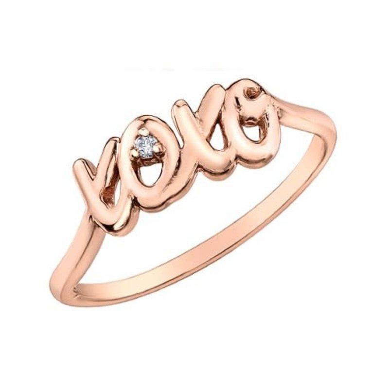10K Rose Gold (0.01ct) Diamond XOXO Script Ring