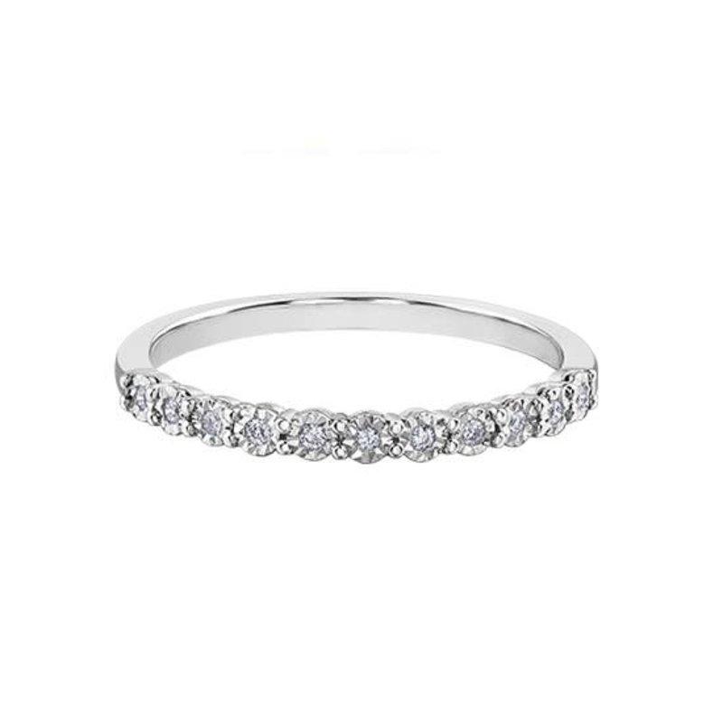10K White Gold (0.15ct) Diamond Stackable Illusion Set Wedding Band