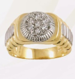 10K Yellow and White Gold CZ Mens Ring