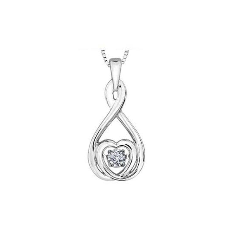 I am Canadian 10K White Gold Pulse Diamond Heart Pendant